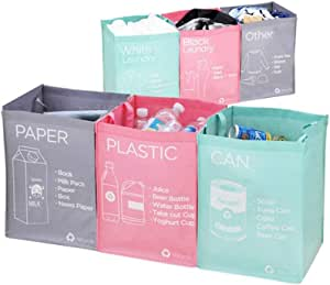 Ribens Recycle Bag Separate Recycle Bin Waterproof Waste Baskets Compartment Container Separate Recycling Bins Multipurpose Separator Box Set Front Recycle Separate Back Laundry Separate