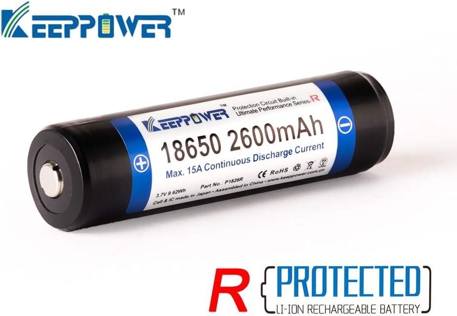 KeepPower Li-Ion Akku 3,7V 3600mAh f/ür LED Taschenlampen