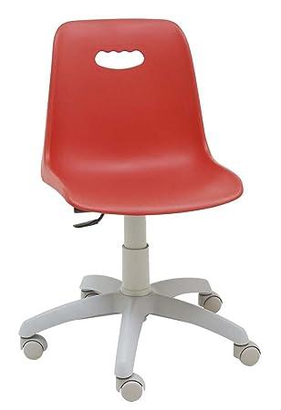 Centrosilla Silla giratoria escritorio niños Venezia Gris color rojo silla juvenil con respaldo flexible ideal para estudio - carcasa polipropileno