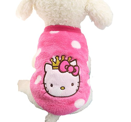 "Chicpaw Puppy Pet Vest Small Dog Cat Clothes Shirt Coral Velvet Cartoon Coat Pet Chihuahua Apparel Costume (XS(Length:7.9"",Chest:11.8""), Pink KT)"