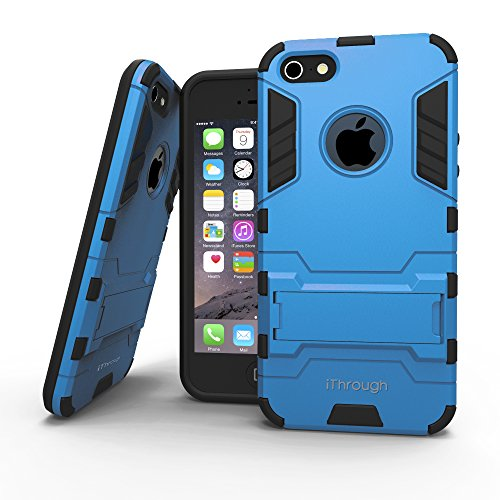iPhone 5S Case, iThrough iPhone 5S Protection Case with Stand Function, Heavy Protective Cover Carrying Case for iPhone 5S (Blue)