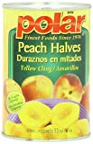 MW Polar Canned Fruit, Peach Halves in Light Syrup, 15 Ounce (Pack of 24)