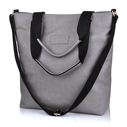 Trendy Canvas Tote Handbag Shoulder Bags for Women (Black) - 5