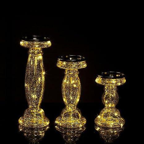 3er Set Kerzenständer Für Stumpenkerzen Mit Led Beleuchtung Lichterkette Und Timer Kerzenhalter Aus Glas Gold