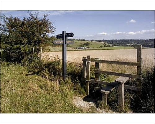 10x8 Print of Stile on the Ridgeway Path, Pitstone Hill, Chilterns, Buckinghamshire (1145488) ()