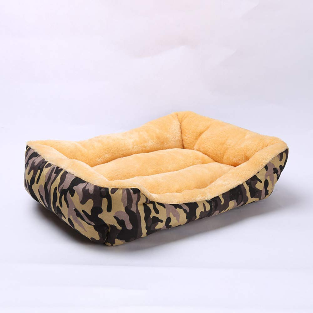 49x41x16cm WALSITK Camouflage autumn and winter warm kennel removable and washable pet nest large medium and small dog bed pet mattress coffee brown, 49x41x16cm