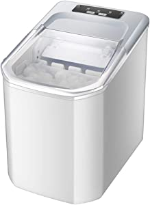 JFGUOYA Portable Ice Maker Machine for Countertop - Makes 33 Lbs of Ice Per 24 Hours - Ice Cubes Ready in 8 Minutes - Electric Ice Making Machine with Ice Scoop and 3.7 Lb Ice Storage - White