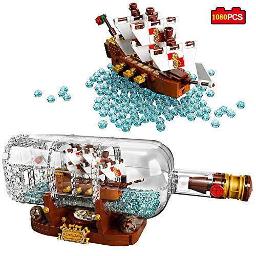 Best Quality Creative Ideas Pirates of The Caribbean Ship in a Bottle Building Block Compatible legoed technic Minecraft City Bricks s Kid