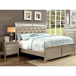 Furniture of America Maire 2 Piece Queen Bedroom Set in Silver
