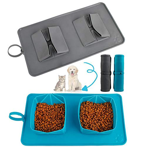 Agirlvct Large Collapsible Dog Double Bowls with Mat, 2 in 1 Silicone Cat Bowl, No Spill Non-Skid Feeder Bowl for Small Medium Large Pets , Food & Water Feeding Travel Outdoor Bowl(Blue)