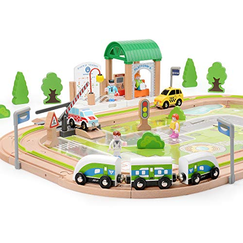 Doug Street Signs - Wooka City Train Set 110pcs Train Station Rail/Road, Compatible with Other Major Wooden Rail Brands