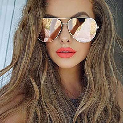 UV400 Oversized Sunglasses Women Designer Vintage Flat Top Pink Mirror Pilot Sun Glasses Shades OM806