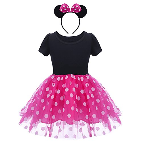 Toddler Baby Girls Polka Dots Princess Costume Christmas Birthday Party Dress up with Mouse Ears Headband 2PCS Set Children Halloween Carnival Dance Fancy Dress for Kids Cospla Hot Pink 18-24 Months -