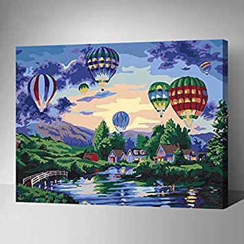 MADE4U Paint By Numbers Kits Canvas Mounted on Wood Frame with ...