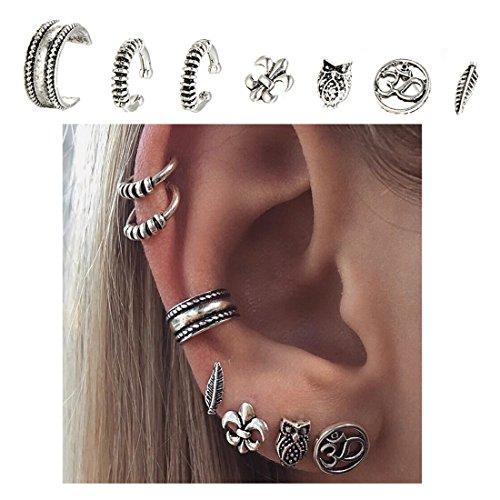 Cuff Earrings Set Ear Crawler Earring Climber Stud Ear Wrap Pin Vine Tribal Charm Vintage Clip On Jewelry Silver Leaf Owl 3D - Cuff Earring Ear