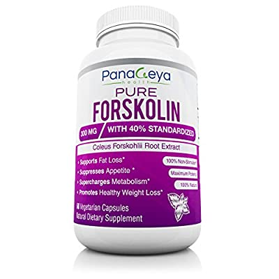 Best Pure Forskolin Extract 300mg with 40% Standardized Natural Weight Loss Supplement Powerful Appetite Suppressant Fat Burner Carb Blocker Burns Belly Fat All Natural GMO Free 60 Veggie Pills