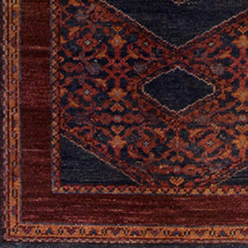 India House Burgundy Rectangle Rug - March Updated Moroccan Farmhouse 9' x 13' Rectangle Traditional 100% Wool Burgundy/Dark Purple/Burnt Orange/Dark Red/Dark Blue/Eggplant Area Rug