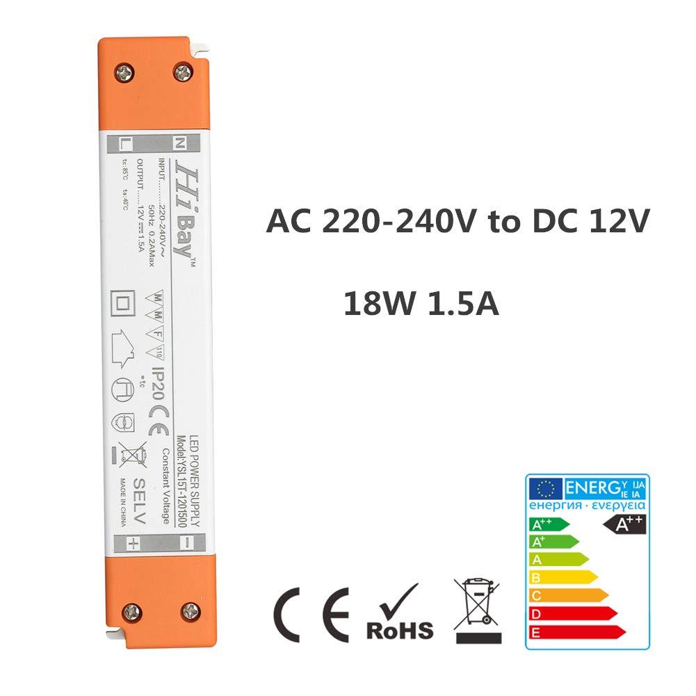 18W 12V LED Transformer,1.5A Driver Power Supply,Extra Slim for DC 12V Low Voltage G4,Strip,MR16,MR11-1 Unit
