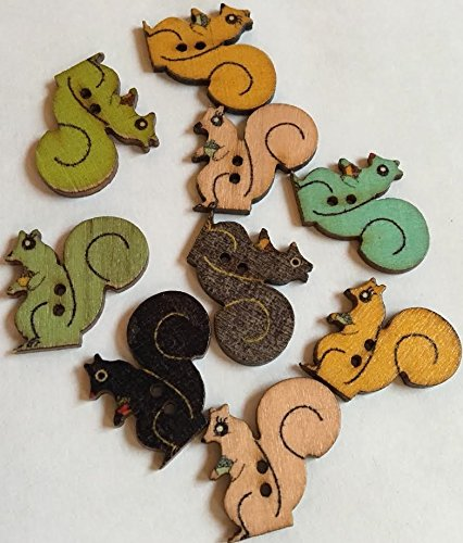 Embellish With Love Wooden Squirrel Buttons - 15 Count ()