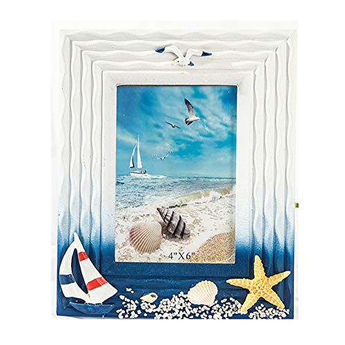 - MUAMAX 4x6 Inch Nautical Picture Frames Decorative Vertical Sculptural Photo Holder Children Room Starfish Beach Themed Home Décor Accessory