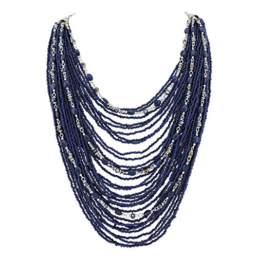 Bocar Multi-Layer Long Chain Chunky Bib Seed Beads Statement Necklace (NK-10410-navy - Bead Chunky Jewelry