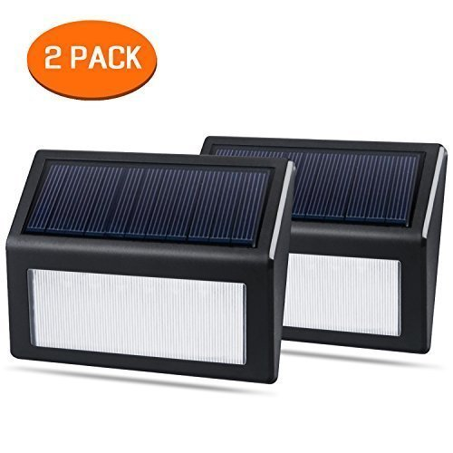 [2 Pack] Solar Lights, QPAU Waterproof 6 LED Solar Powered Steps Light Turn on Automatically for Modern Fixture Hallway Garden Stair Fence