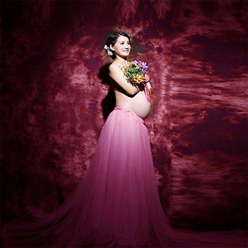 Vestido de maternidad falda larga vestido de embarazo Vestidos de estilo real floral Rosa