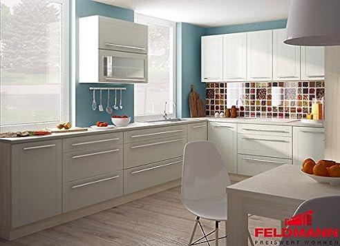 Küchenzeile Küche L-Form 300 X 180Cm 16898 Jersey / Vanille Matt