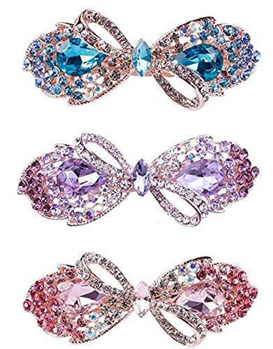 Purple Rhinestone Crystal - Exquisite Crystal and Rhinestone Hair Barrette (3-pack: Blue, Pink & Purple color) for Women & Girls