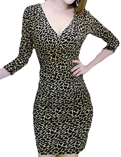 erdbeerloft - Damen Kleid in Leopardenoptik, Schwarz, XS-XL