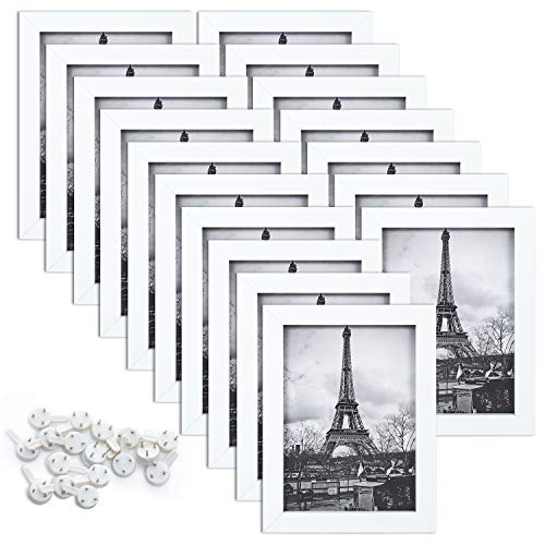 upsimples 5x7 Picture Frame Set of 17,Multi Photo Frames Collage for Wall or Tabletop Display,White ()