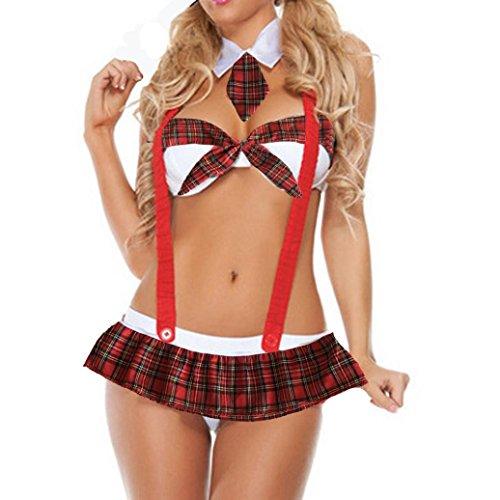 Women Sexy Lingerie For Sex,Lelili Tie Bowknot Bandeau Bra Top Plaid Belt Mini Dress Temptation Underwear Nightdress (M, Red)
