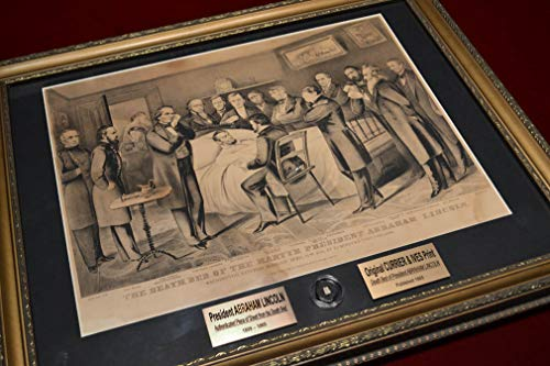 ABRAHAM LINCOLN Original Assassination Deathbed CLOTH RELIC of blood-stained sheet on a beautiful FRAME, antique CURRIER & IVES Print, Easton Press leather