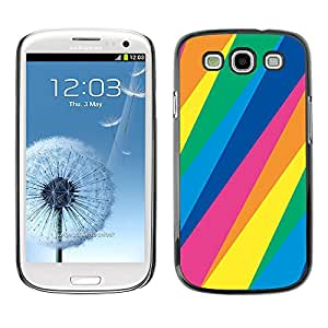 Shell-Star Arte & diseño plástico duro Fundas Cover Cubre Hard Case Cover para SAMSUNG Galaxy S3 III / i9300 / i747 ( Lines Pattern Blue Green Yellow Pink )