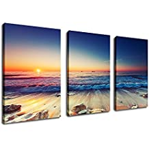 "yearainn Canvas Prints Sunset Sea Beach Canvas Wall Art Nature Picture 30"" x 60"" 3 Pieces Large Blue Ocean Canvas Art Framed Ready to Hang for Home Decoration"