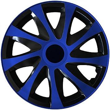 Eight Tec Handelsagentur Größe Wählbar 15 Zoll Radkappen Radzierblenden Draco Bicolor Schwarz Blau Passend Für Fast Alle Fahrzeugtypen Universal Auto