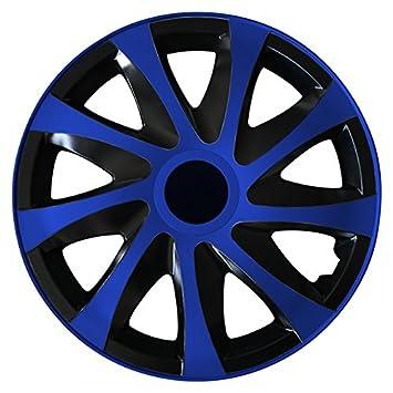 (tamaño a elegir) Tapacubos/Tapacubos DRACO bicolor (Negro de color azul) apto para casi todos los tipos de vehículos (universal): Amazon.es: Coche y moto