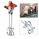 Electric Mortar Mixer, Double Paddle Mortar Mixer Dual High Low Gear Speed Paint Cement Grout 1800W Mixer Stirring Tool for Cement Plaster Grout Mort (US Stock)
