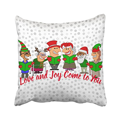Emvency Throw Pillow Case Dec Christmassy Funny Cartoon Christmas Carolers Pillow Case Cushion Cover Case Pillowcases Square 16x16 inch Cartoon Christmas Carolers