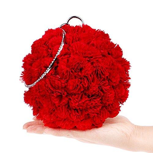 Noir Motif Sac Rond Femme Pour Fleur Main Hungrybubble Rouge À 4URqFww8