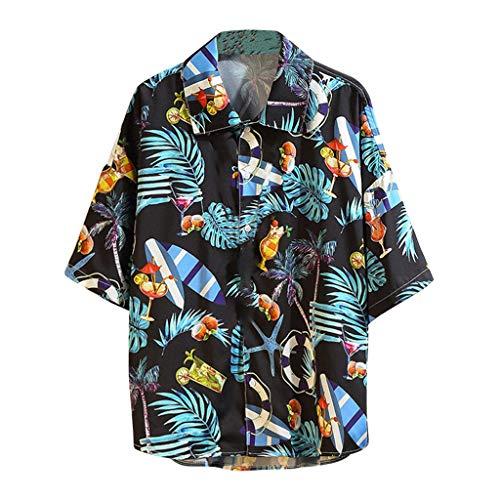 Blouse for Men Vintage Summer Casual Hawaiian Style Printing Loose Short Sleeve Shirt Tops]()
