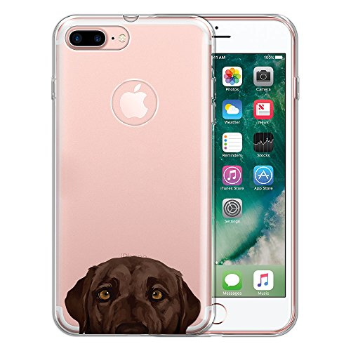 FINCIBO Case Compatible with Apple iPhone 7 Plus / 8 Plus, Clear Transparent TPU Protector Case Cover Soft Gel for iPhone 7 Plus / 8 Plus (NOT FIT iPhone 7/8) - Chocolate Brown Labrador Retriever Dog