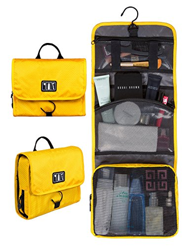 (BAGSMART Hanging Travel Toiletry Bag Cosmetic Carryon Case Folding Makeup Organizer with Breathable Mesh Pockets Yellow)