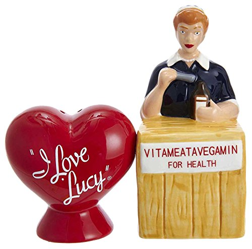 (Kurt Adler Kurt S. Adler I Love Lucy Vitameatavegamin Handpainted Ceramic 2-Piece Set Salt and Pepper Shaker)