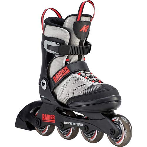 K2 Skate Youth Raider Inline Skates, Gray/Red, Medium (1-5)
