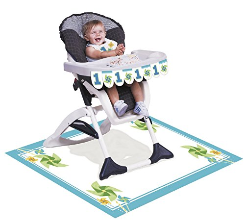 Boy High Chair Kit - Creative Converting Turning One - Boy High Chair Kit