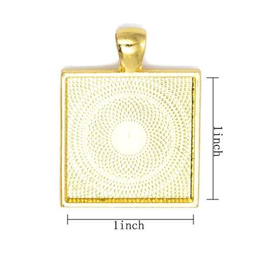 Pendant Resin Picture Pendant (Square Pendant Tray - Shimmering Gold-tone - 1 Inch - 25mm - Pendant Blanks Cameo Bezel Settings Photo Jewelry For Fashion People Pack OF 20)