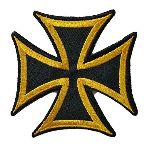 Patch Croce di Malta Nero Torre Giallo Stemma 7,5 cm Rock Roll Biker templer hotrodspirit