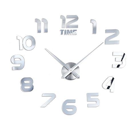 Grande efecto Espejo 3d adhesivo DIY reloj de pared Digital silencioso no Tic Tac, con
