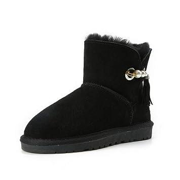 Botas de invierno para mujer Cuero cálido a prueba de viento Resistente al agua y botas